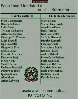 Referendum la lista dei padri fondatori a confronto con i for Lista politici italiani
