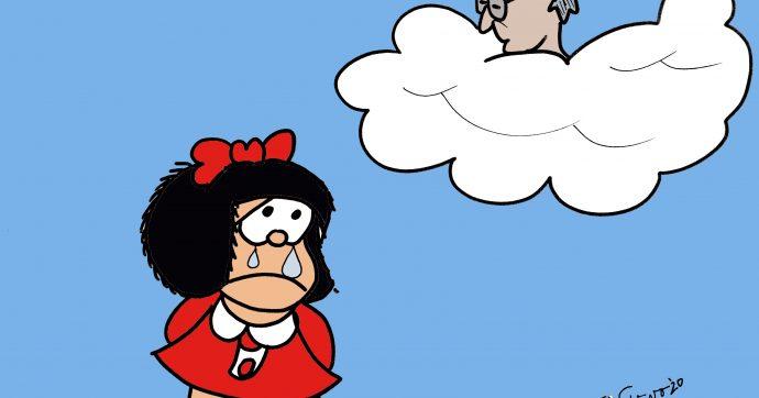 Addio Quino, Mafalda piange la morte del suo creatore [VIGNETTA]